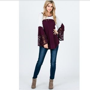 Last 2 ‼️Thermal Top With Bell Lace Sleeves